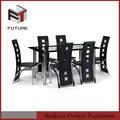 1+6 diseño moderno de metal mesa de comedor y silla
