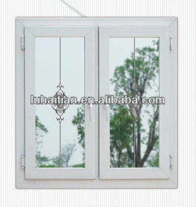 Vinyl double glazed window with decorative grill designs for Vinyl window designs ltd