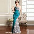 diseño asimétrico hombro uno de plata sin respaldo sirena vestido largo de noche para los patrones de las damas de honor vestido