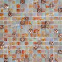 20*20mm shiny Goldline & Iridescent Glass Mosaic tiles GGL028 for toilet & bathroom decoration