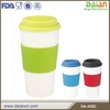 Promotional plastic coffee mug cup with lid and sleeve wholesale