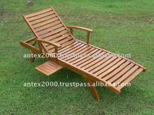 Sun Lounger with armrest made of teak wood