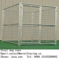 Round tube frame dog kennels 5mm wire welded dog cages steel dog runs
