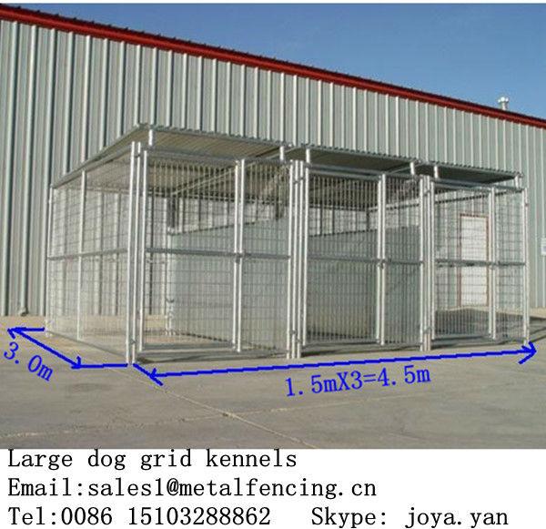 犬のハウスの鉄骨構造1.5x3.0x1.8mx3実行され4.5x3.0x1.8m犬が実行される大型犬の飼育