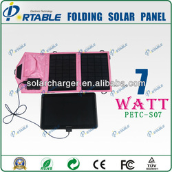 7W Colorful Foldable iphone solar charger waterproof solar panel bag for mobile phone and Ipad