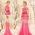 Coniefox 30500 rosa Backless andar de comprimento sereia 2013 Real Pictures of vestido de festa