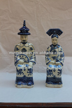 Chinese antique blue and white ceramic emperor statue