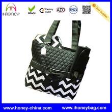 New Wholesale Black And White baby tote chevron printed diaper bag
