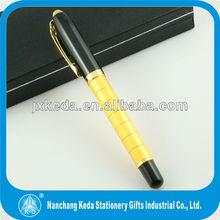 2014 high quality metal shinny gold sample black best gel pen
