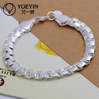 Silver tone mens high class plain silver bracelet