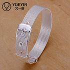 Wholesale unisex silver plate metal mesh wrist band