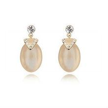 8680 wedding mysterious alien style opal/cat's eye inlay diamond earrings wedding earrings