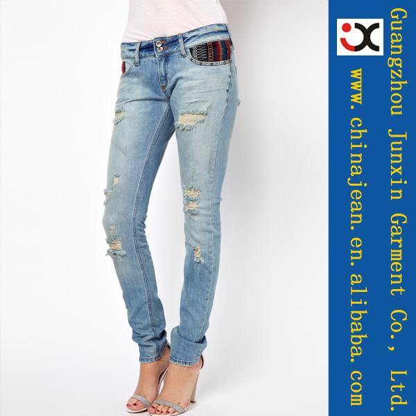 Fashion women ripped jeans designer jeans wholesale silver jeans