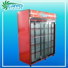 1000L big 110v convenience store restaurant retail triple three door refrigerator refrigerated showcase