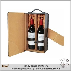 2 Bottles PU Leather Wine Carrier, Wine Bag, Wine Box
