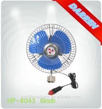 DC 12v 24V 6inch Ful-closed Blue Oscillating Auto Truck Fan Portable Car Fan