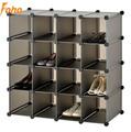 de enclavamiento 16 pares cubo organizador de zapatos de almacenamiento en rack soporte de exhibición en color marrón