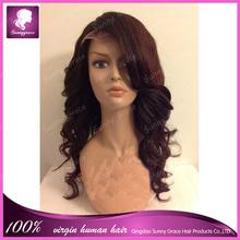 Qingdao wholesale cheap 100% virgin black women super wave brazilian human hair lace front wigs with side bangs natural hairline
