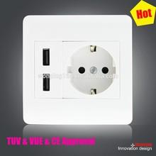 2015 high quality new design super function 5V 2.1A TUV VDE CE euro USB Wall Socket with usb port 220v