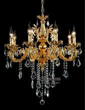 Gold Color Crystal Chandelier Lamp Candle Light Classic Chrome Chandelier Pendant Light MD8861 L6