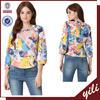 2015 new design india digital printed women sleeveless pleat blouse wholesale clothing