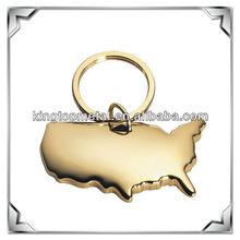 metal custom USA shape deluxe brass keychain
