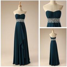 EPM0055 elegant chiffon evening dress China with long beaded belt
