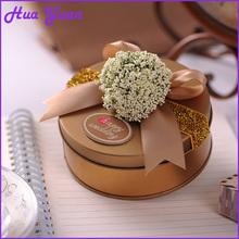 Round shape flower ribbon custom packaging sweet box