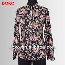 Women printed designs long sleeves blouses fashion 2015