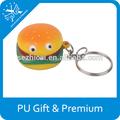 Novo barato de espuma anti-stress bola lanche de hambúrguer forma keychain do logotipo do oem