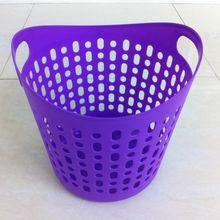 PE plastic handle basket simple design laundry basket with double plastic ears