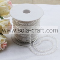 82meters/lot 3MM ABS Plastic Beads Fixed String Chain Favor Craft Decoration Colorless Clear Pearl Bead String