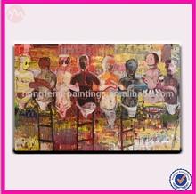 Modern group of African modern girl selling goods oil painting ,HF-FZN019-1