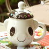 China factory wholesale white eco-friendly cute dog shape fancy ceramic print ceramic coffee cups with lid for promotion