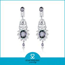 2015 manufacturer Hot Sale AAA zircon 925 sterling silver earring