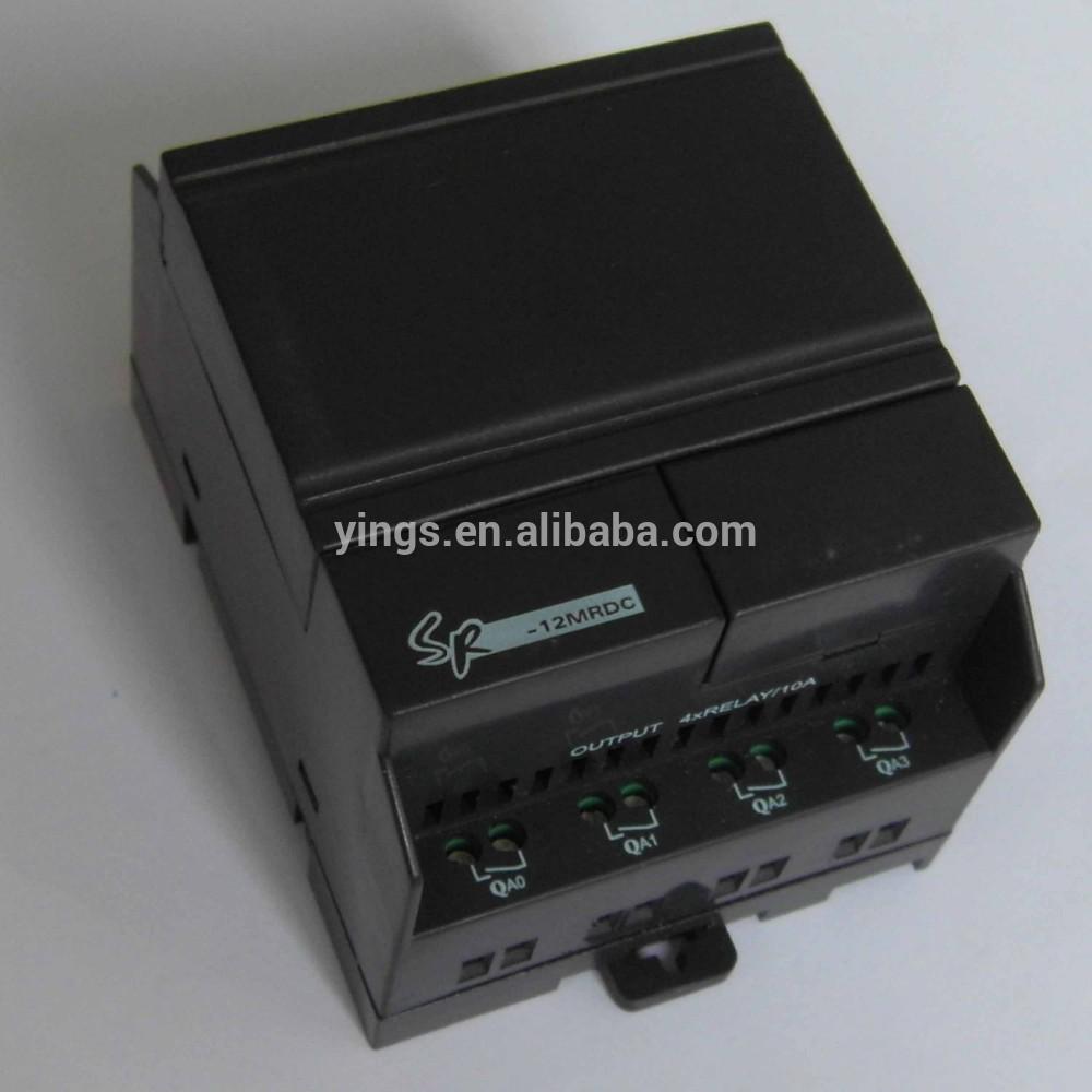 Plc yumo sr-12mrdc dc12 24v 8 los puntos de entrada de cc con 6 puntos 4 analógica de los puntos de salida de relé de controlador lógico programable