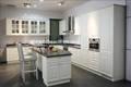Pvc branco folha térmica conjunto de cozinha com ilha Raised cozinha porta