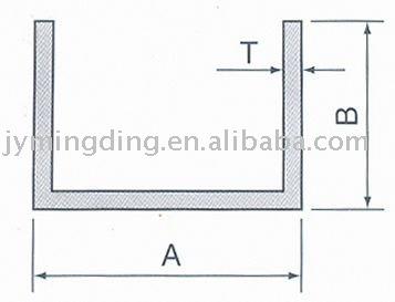 U- en forma de perfil de aluminio