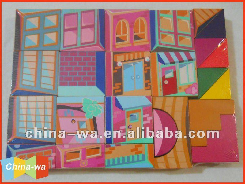 بناء المنازل الملونة الخشب أو كتل البناء لعبة
