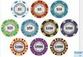 Custom made krone poker-chip mit goldrand aufkleber, neuen aufkleber pokerchips mit Ihrem Logo