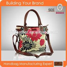 4050-Fashion nice silk print flower lady bag 2015