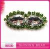 popular shoe buckle with green rhinestone and glass bead