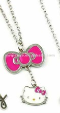 Hello kitty with buttfly charm necklace