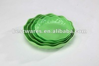 Hot sale green 4pcs melamine plastic flower shaped plate ware
