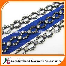 Fashion Clear Rhinestone Trim black setting Chain Wedding Sewing Costume Craft