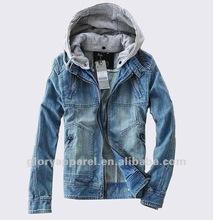 New brand mens denim jacket with fleece hood with top popular jackets