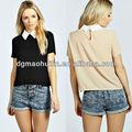 de moda de manga corta de alta calidad parche de trabajo las mujeres blusa 2014 diseños
