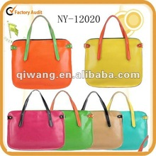 2012 new arrival fashion contrast color leather tote bag / famous design fashion lady tote bag