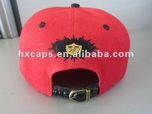 Red fashion flat brim strap back cap