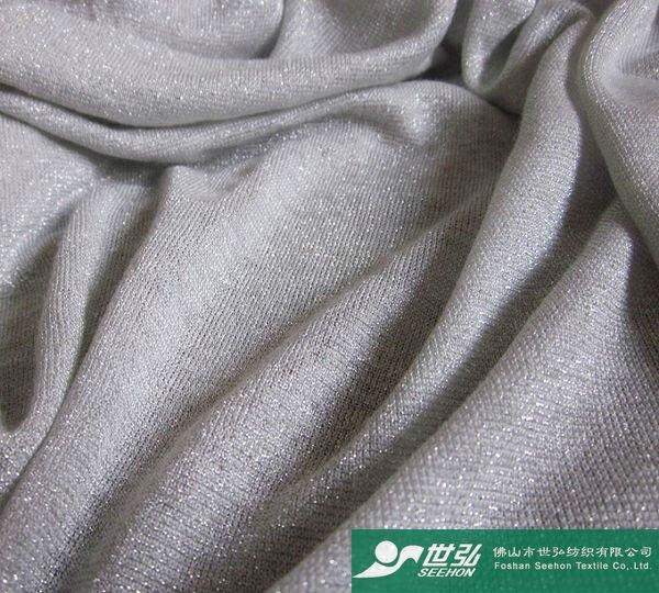 rayon knit fabric with silver metallic yarn fabric 130g/m2